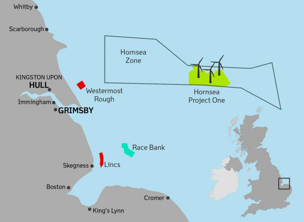 Figure 2. Hornsea Project One, North Sea Location Map. Reprinted from offshoreWIND.biz. https://www.offshorewind. biz/2016/02/03/video-how-big-is-hornseaproject- one/.
